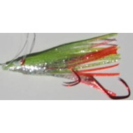 R&K Hoochie Silver Glitter Chartreuse/Silver Hot Tail 2 1/2""
