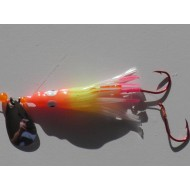 "Glitter Bugs Hoochie Orange/ Chart/ White/ Pink Glow with Silver Blade 1 3/4"" ***"