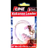 P-Line 3 pack Kokanee Leader with Beads #6 Octopus Hooks