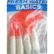 "Fresh Water Basics 3"" Fire & Ice Grubs White w/pink tail"